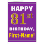[ Thumbnail: Bold, Purple, Faux Gold 81st Birthday W/ Name Card ]