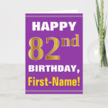 [ Thumbnail: Bold, Purple, Faux Gold 82nd Birthday W/ Name Card ]