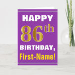 [ Thumbnail: Bold, Purple, Faux Gold 86th Birthday W/ Name Card ]