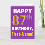 [ Thumbnail: Bold, Purple, Faux Gold 87th Birthday W/ Name Card ]