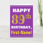 [ Thumbnail: Bold, Purple, Faux Gold 89th Birthday W/ Name Card ]