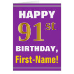 [ Thumbnail: Bold, Purple, Faux Gold 91st Birthday W/ Name Card ]