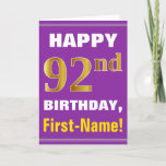 [ Thumbnail: Bold, Purple, Faux Gold 92nd Birthday W/ Name Card ]