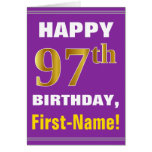 [ Thumbnail: Bold, Purple, Faux Gold 97th Birthday W/ Name Card ]
