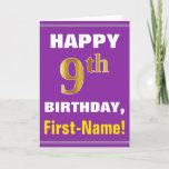 [ Thumbnail: Bold, Purple, Faux Gold 9th Birthday W/ Name Card ]