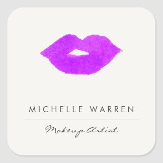 Bold Purple Lips Watercolor Makeup Artist Square Sticker