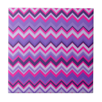 Bold Purple Pink Tribal Chevron Zig Zags Ceramic Tile