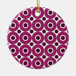 Bold Purple Polka Dots Concentric Circles Pattern Ceramic Ornament