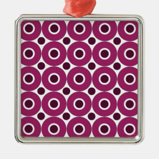 Bold Purple Polka Dots Concentric Circles Pattern Metal Ornament