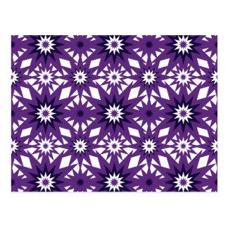Bold Purple Star Pattern Starburst Design Postcard