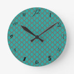 Bold Quatrefoil Pattern in Green and Brown Round Wallclock