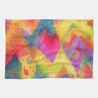 Bold Quotation in Neons 2 Rainbow Chevron Ikat Hand Towel
