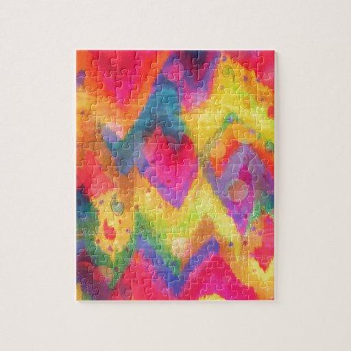 Bold Quotation in Neons 2, Rainbow Chevron Ikat Puzzles