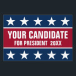 """Bold R/B Custom Name Election 2016 Yard Sign<br><div class=""""desc"""">Design featuring big white stars on dark blue background and custom white name/text on dark red background.</div>"""