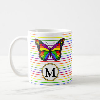 Bold Rainbow Butterfly Pinstripe Custom Monogram Coffee Mug