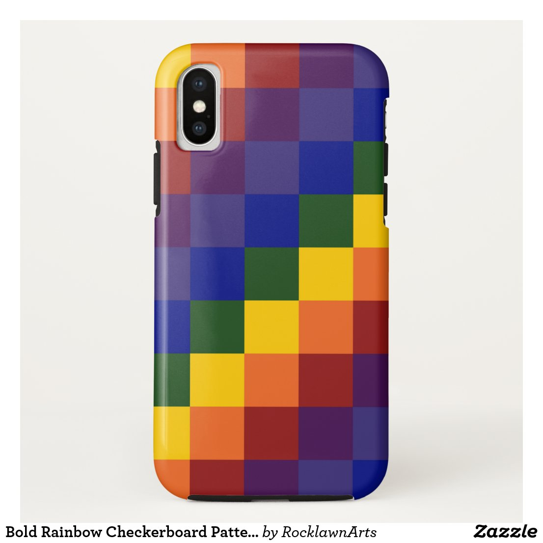 Bold Rainbow Checkerboard Pattern iPhone Case