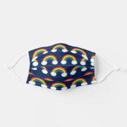 Bold Rainbow Navy Blue Pattern Face Mask title=