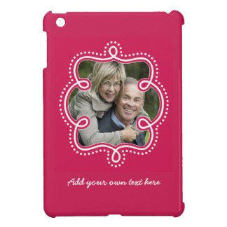 Bold Raspberry Doodle Frame Photo Personalized Case For The iPad Mini