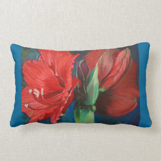 Bold Red Amaryllis Floral Fine Art Pillow