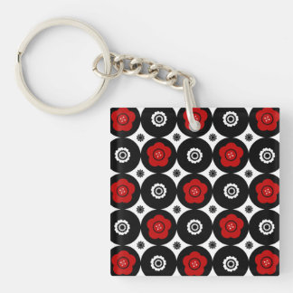 Bold Red and Black Trendy Mod Circles Keychain
