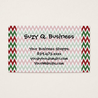 Bold Red and Green Christmas Chevron Zigzags Business Card