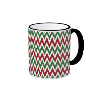 Bold Red and Green Christmas Chevron Zigzags Mugs