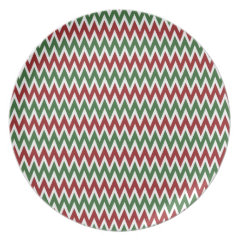Bold Red and Green Christmas Chevron Zigzags Plate
