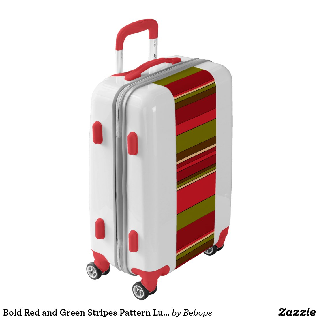 Bold Red and Green Stripes Pattern Luggage