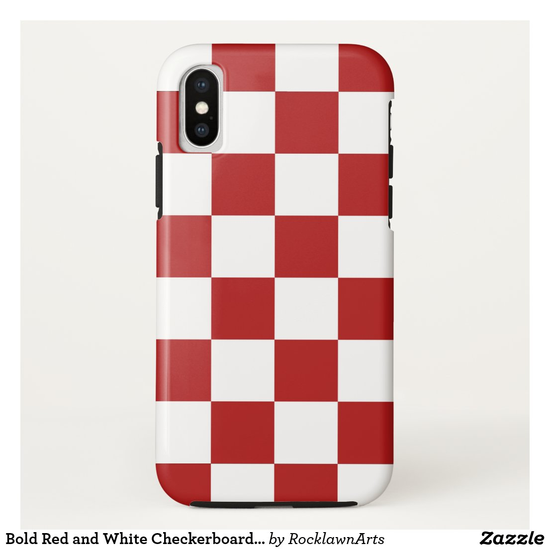 Bold Red and White Checkerboard Pattern iPhone Case