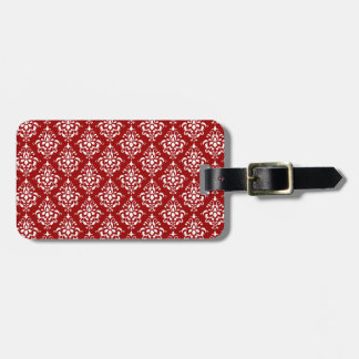 BOLD RED AND WHITE DAMASK PATTERN 1 BAG TAG