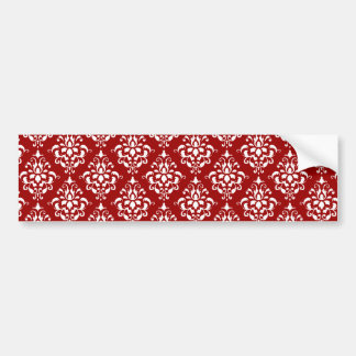 BOLD RED AND WHITE DAMASK PATTERN 1 CAR BUMPER STICKER