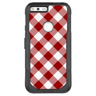 Bold Red and White Diagonal Plaid OtterBox Commuter Google Pixel XL Case