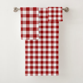 Bold Red and White Gingham Plaid Towel Set