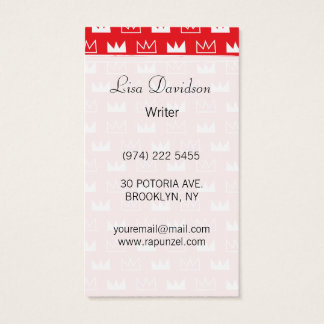 Bold Red and White King Queen crown abstract Business Card