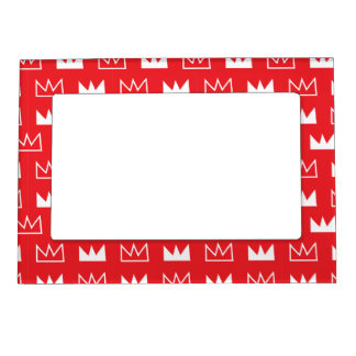 Bold Red and White King Queen crown abstract Magnetic Photo Frame