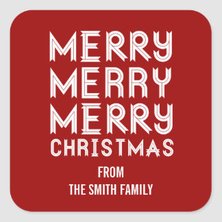 Bold RED and White Merry Christmas Gift Labels