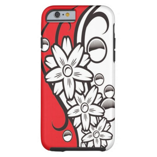 Bold Red Black And White Floral Pattern Tough iPhone 6 Case