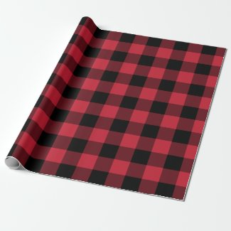 Bold Red Black Buffalo Plaid Lumberjack Pattern Wrapping Paper