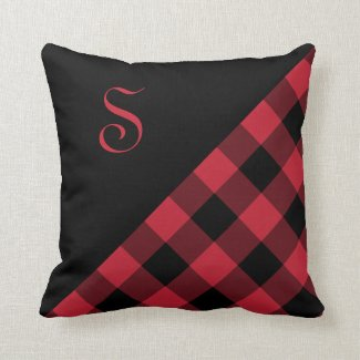 Bold Red Black Gingham Plaid Pattern Monogram Throw Pillow