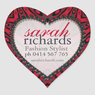 Bold Red Black Tribal Heart Stickers