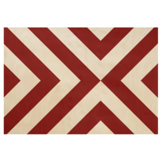 Bold Red Chevrons on Wood Veneer Poster Wood Poster
