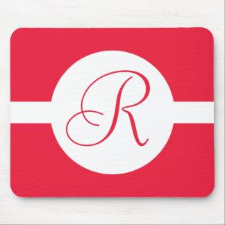 Bold Red Circle Monogram Mouse Pad
