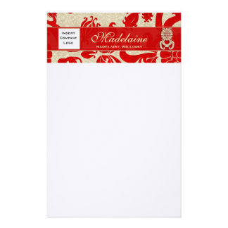 Bold Red Damask Top Border with Logo and Custom Stationery