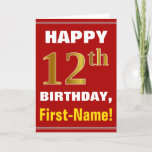 [ Thumbnail: Bold, Red, Faux Gold 12th Birthday W/ Name Card ]