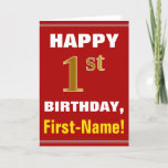 [ Thumbnail: Bold, Red, Faux Gold 1st Birthday W/ Name Card ]