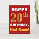 [ Thumbnail: Bold, Red, Faux Gold 20th Birthday W/ Name Card ]