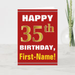 [ Thumbnail: Bold, Red, Faux Gold 35th Birthday W/ Name Card ]