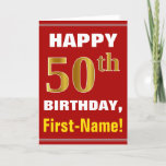 [ Thumbnail: Bold, Red, Faux Gold 50th Birthday W/ Name Card ]