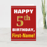 [ Thumbnail: Bold, Red, Faux Gold 5th Birthday W/ Name Card ]