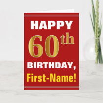 Bold, Red, Faux Gold 60th Birthday w/ Name Card